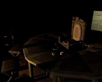 I saw at once that Dr. Carpenter had sat down in the Siege Perilous, and only his glasses remained. (2007 or so, Daz-Studio and POV-Ray